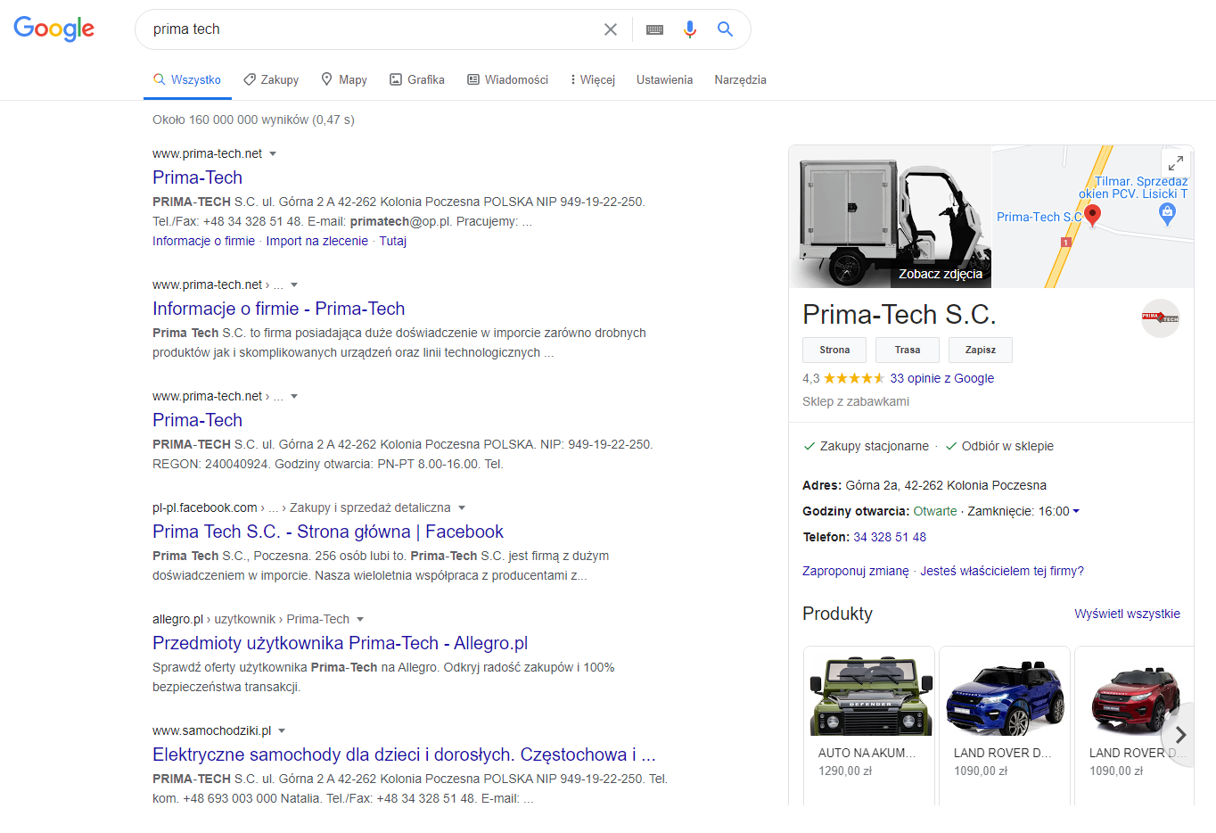 Google positioning - sale increasing